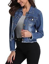 Jean Jacket Women's Frayed Washed Button Up Cropped Denim Jacket w 2 Side Pockets