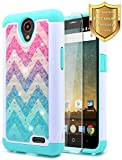 zte prelude phone case cricket - NageBee [Hybrid Protective] Soft Cover [Studded Rhinestone Bling] Diamond Case with [Tempered Glass Screen Protector] For ZTE Maven 3 (Z835 AT&T), ZTE Overture 3, ZTE Prelude Plus Case(4G LTE) -Wave