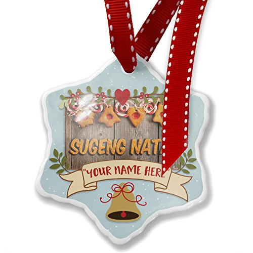 Add Your Own Custom Name, Merry Christmas in Javanese from Java, Indonesia Christmas Ornament NEONBLOND by NEONBLOND