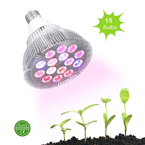 Ledgle 30w Led Grow light Bulb , Miracle Grow Plant Light for Hydropoics Organic Mini Greenhouse,3 Bands with 15 LED Bulbs