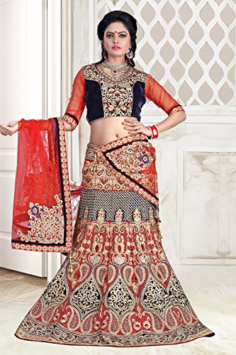 IWS Womens Velvet Fabric Red Pretty A Line Lehenga Style 79520