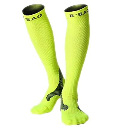 1 Pair Professional Long Mens Cycling Socks Bike Anti-Slip Running Compression Sport Socks Leg