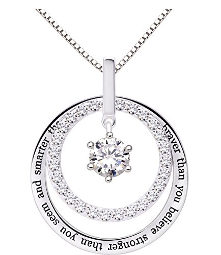 ALOV Jewelry Sterling Silver You are Braver Than You Believe Stronger Than You Seem and Smarter Than You Think Cubic Zirconia Pendant Necklace (College Pendant Jewelry)