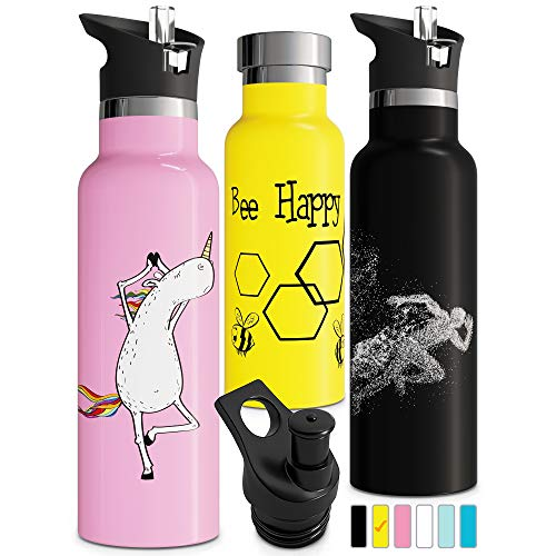 Bee Gift Vacuum Insulated Water Bottle with Straw Double Walled Stainless Steel Thermos Eco Friendly Sweat Proof Durable Powder Coated Finish BPA Free Push-Pull Sports Cap 600ml (20oz, Yellow)]()