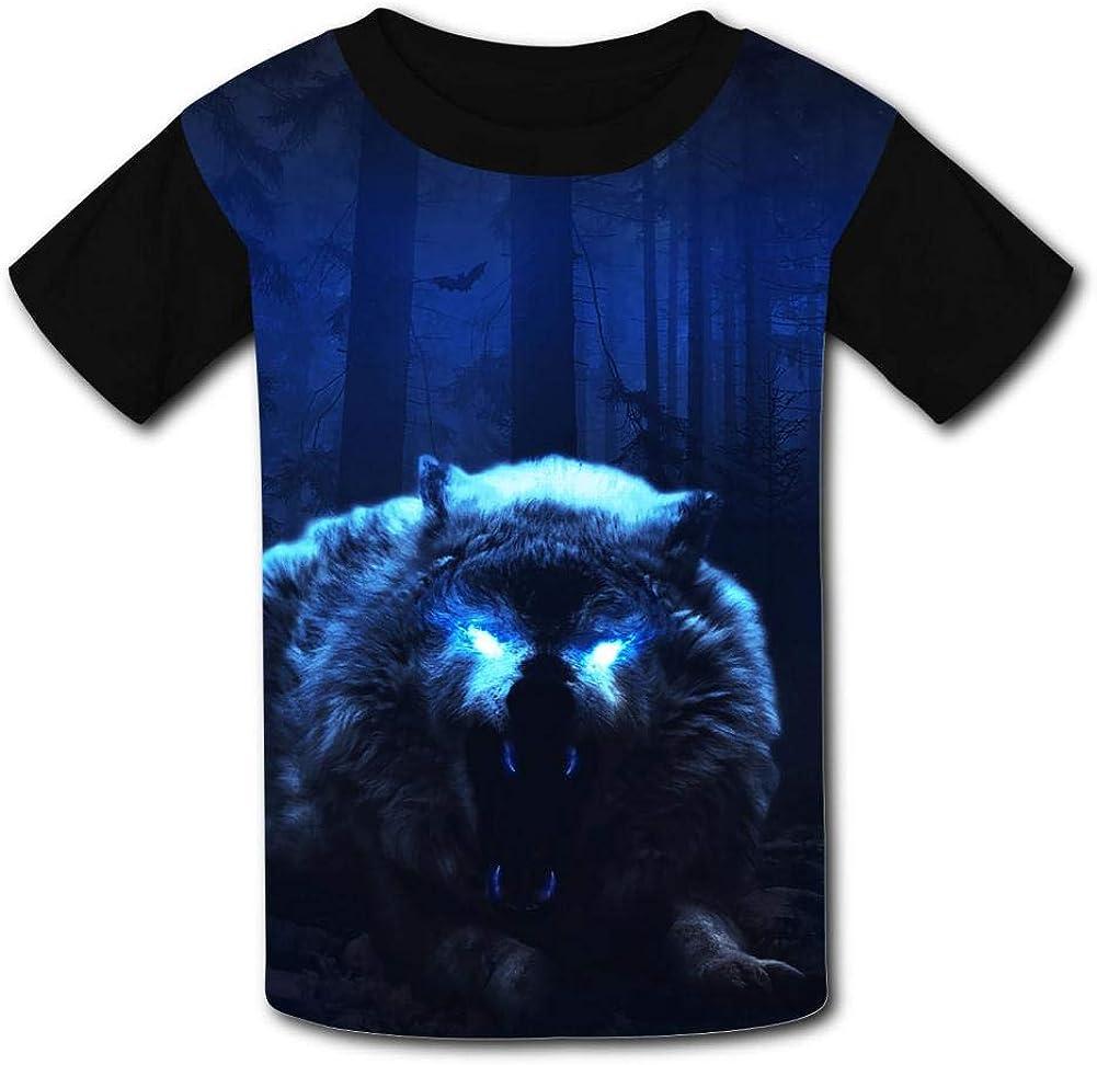 Elcacf Kids Scary Dark Wolf Comfortable Print T-Shirts Short Sleeve Children Tees Funny Creative Boys Girls