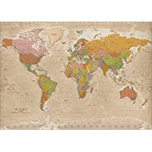 """World map XXL Poster Vintage 2017- MAPS IN MINUTES® (55""""x39"""")"""