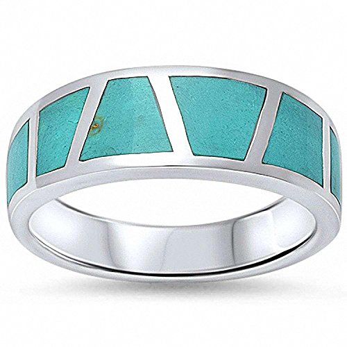 Inlay Sterling Blue Silver Turquoise (Half Eternity Band Ring Simulated Green Turquoise 925 Sterling Silver, Size-5)