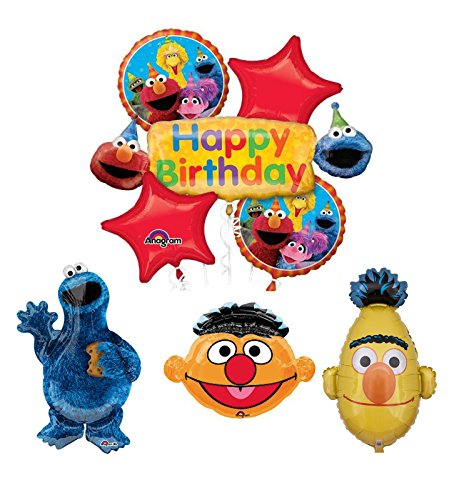 Mayflower Products Sesame Street Cookie Monster Bert and Ernie Birthday Party Supplies and Balloon Bouquet -