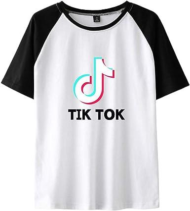 TIK TOK Camiseta Manga Corta Mujer T Shirt Deporte Jersey Casual Camisas Verano Pullover Hip Pop Blusa Cuello Redondo Swag Streetwear Patchwork Top: Amazon.es: Ropa y accesorios