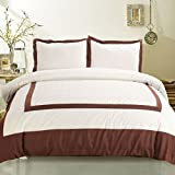 DECORAPORT 3-Piece Brown Duvet Cover Set King&Queen 90*104 & 90*90 (DK-LJ011) (Queen)