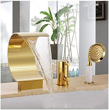 滝チタンゴールドバスタブの蛇口温水と冷水の広い3つの穴バスルームの浴槽の蛇口デッキマウントバスシャワーミキサータップハンドヘルドシャワー付き