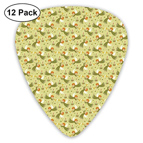 Celluloid Guitar Picks - 12 Pack,Abstract Art Colorful Designs,Ancient Motif Wings Hearts And Candle Green Toned Design,For Bass Electric & Acoustic Guitars.]()