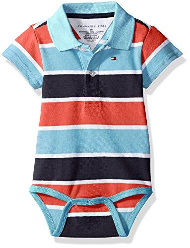 Tommy Hilfiger Baby Boys' Short Sleeve Striped Shaun Bodysuit, Swim Navy, 3 Months