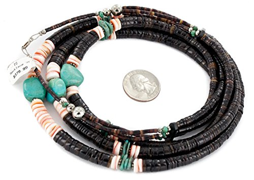 $380 Retail Tag 3 Strand Authentic Made by Charlene Little Silver Navajo Natural Graduated Heishi Spiny Oyster and Turquoise Native American -