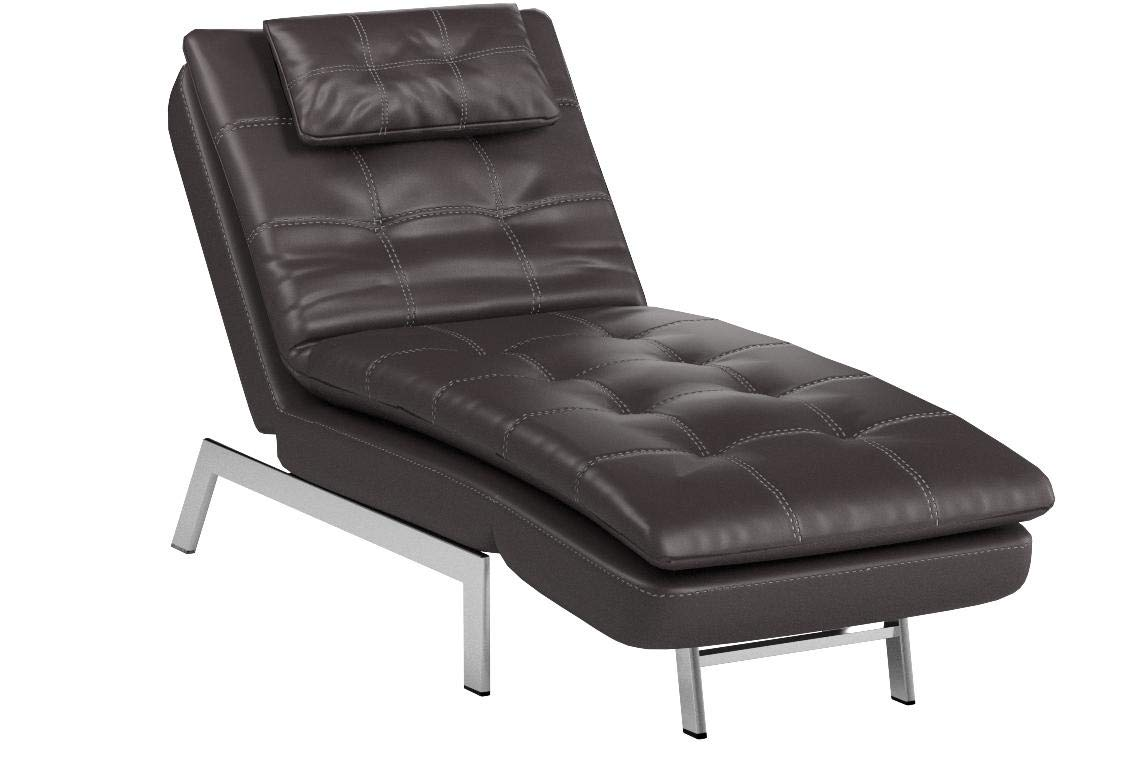 LifeStyle Solutions Relax-A-Lounger Titan Faux Leather Convertible Chaise Lounge in Brown by LifeStyle Solutions