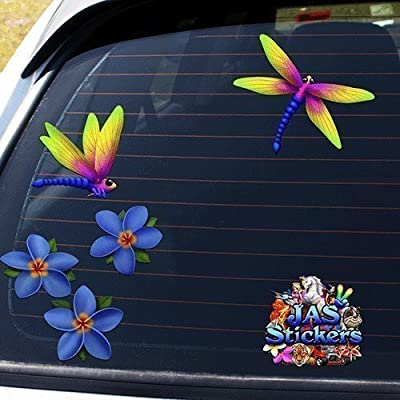 Dragonfly & Blue Frangipani Plumeria Small Flower Animal Insect Pack Car Stickers Decal - ST00064BL_SML - JAS Stickers