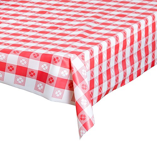 Atlantis Plastics 2TC300-GING Red Gingham Patterned Plastic Table Cover - Gingham Plastic Banquet Roll