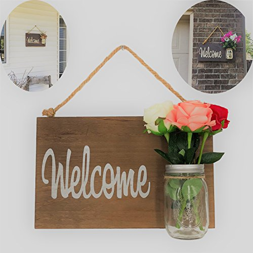 Yonor Rustic Wood Home Front Door Welcome Sign, Home Sweet Home Sign, Housewarming Gift, Hand Painted Home Decor Sign, Rustic Front Door Decorations Welcome Sign (Welcome, (Hand Painted Welcome Signs)