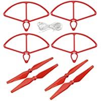 UUMART 4 Propellers and 4 Prop Guards for DJI Phantom 4 RC Quadcopter Spare Parts Self-tightening Propeller-Red