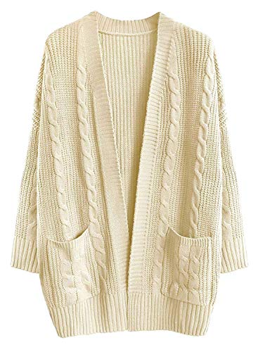 71c5f02f29 Doballa Women s Chunky Boyfriend Open Front Patch Pockets Long Sleeve Cable  Knit Aran Twisted Cardigan Sweaters Coat  Amazon.co.uk  Clothing