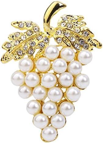 JAGETRADE Femmes Charmes Strass Faux Perle De Mariage Broche De Raisin Broches Broches Bijoux Cadeau Cadeau De F/ête Des M/ères