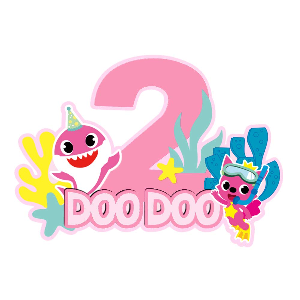 Baby Shark Cake Topper 2nd Birthday ,Second 2 Baby Shark Birthday Decorations ,Baby Shark Party Supplies For Two Years Baby Boys Girls(Pink for Girls/Blue for Boys) (2nd Pink Girl)