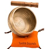 Tibetan Singing Bowl Set By TANTRA SOUNDS - Om Mani Padme Hum - Chakra Balancing, Excellent Resonance Healing & Meditation Yoga Bowl with Mallet, Nepalese Cushion & Bag, Made in Nepal (4.5