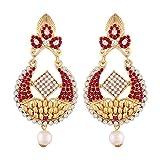 I Jewels Gold Plated Chandbali Earrings For Women E2334Q (Pink)
