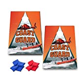 VictoryStore Cornhole Games - United States Coast Guard Cornhole Game - Coast Guard Bag Toss Game - 8 Bags Included - Wooden Boards