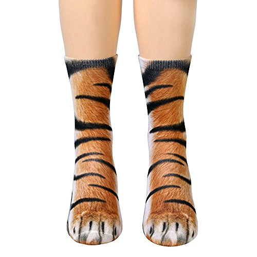 CVERRE Unisex Kids Animal Paw Feet Crew Socks HD Print - Print Cat Tiger