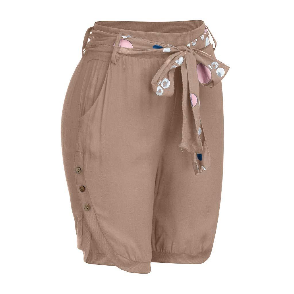 Ansenesna Capri Hose Damen Mit G/ürtel Schick Elegant Hosen Frauen Kn/öpfe Einfarbig Vintage Freizeit Shorts
