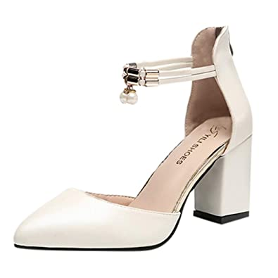 f993b593e12 Amazon.com | Women's Pointed Toe Heeled Sandals High Block Chunky ...