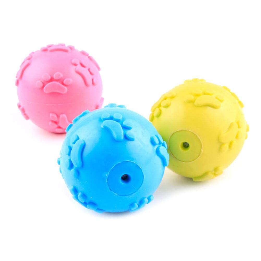 Heitaisi 2 PCS Pet Ball, Pet Rubber Bite-Resistant Toy Ball Sound Squeaker Toy Teeth Protection Molar Toy for Dog Puppy(Random Color)