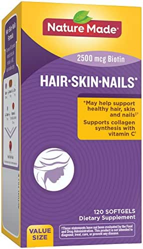 Nature Made Hair, Skin & Nails with 2500 mcg of Biotin Softgels, 120 Count Value Size (Packaging May Vary)