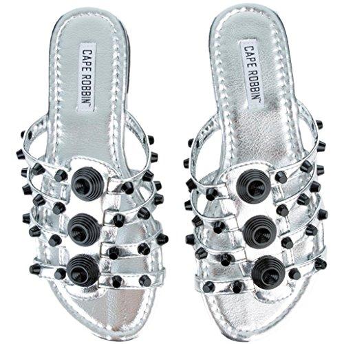 CAPE ROBBIN Women's Vintage Flat Studded Slipper Open Toe Slide Fashion Sandal (8, Silver) by CAPE ROBBIN (Image #2)