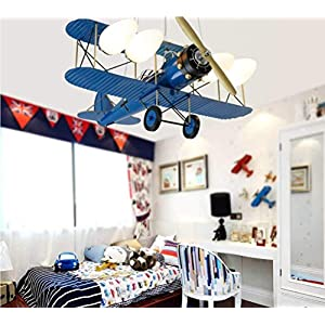 Chandelier Hotel Pendant Light, Cartoon Aircraft, Children's Bedroom Room Creative Room Toys for Nursery Decor,Gifts for Kids AA+ (Color : Blue)
