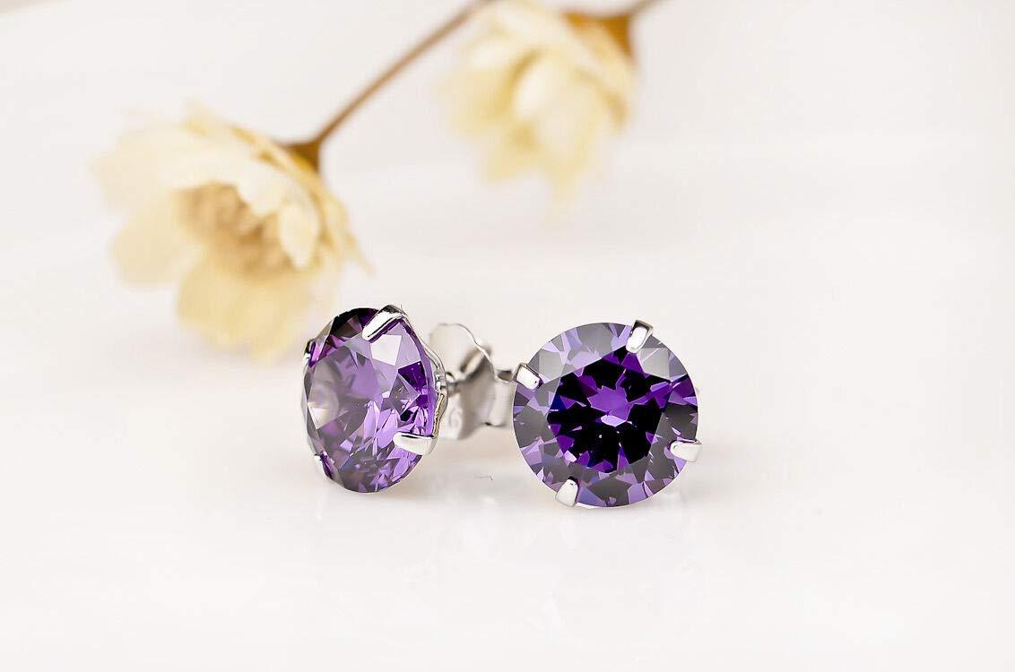 FidgetGear Round Cut Purple Crystal CZ Ear Stud Earrings Jewelry 925 Silver Gifts 5 Pairs 6mm
