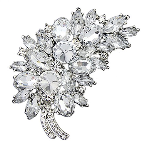 Danbihuabi Large Crystal Rhinestone Resin Flower Leaf Brooch Pin 6 Styles (silver plated white)
