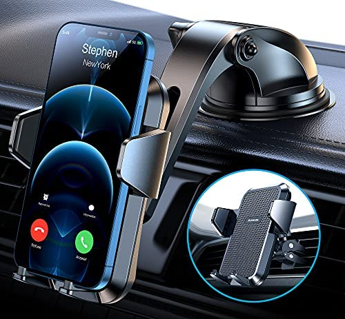 """Sturdy Dash Car Phone Holder with Upgraded Strong Suction Cup and Stable Screw Locking Vent Clip Never Fall,2 in 1 Ultra Stable in Cars/Jeeps/SUVs/Trucks,Compatible 4.0""""-6.8""""Smart Phone"""