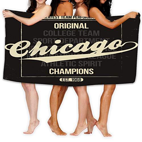 Xunulyn 31x51 Inch High Absorbency Bath Towel Large Bath Sheet for Beach Home Spa Pool Gym Travel Chicago Sportswear Emblem Athletic University Apparel Design Lettering Grunge