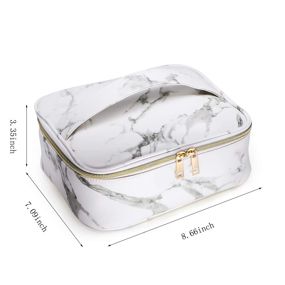 Makeup Bag Organizer Travel Marble Cosmetic Case Portable Large Toiletry Bag with Brush Holder PU Gold Zipper Pencil Storage Case for Women,White Marble