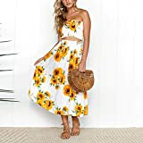 【MOHOLL】 Women's Floral Crop Top Maxi Skirt Set 2 Piece Outfit Dress Yellow