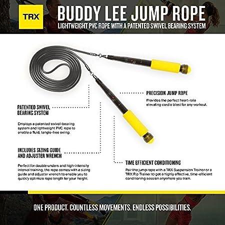 TRX Cuerda de Salto de Buddy Lee: Cuerda Ligera de PVC con un Sistema Patentado de rodamiento oscilante.