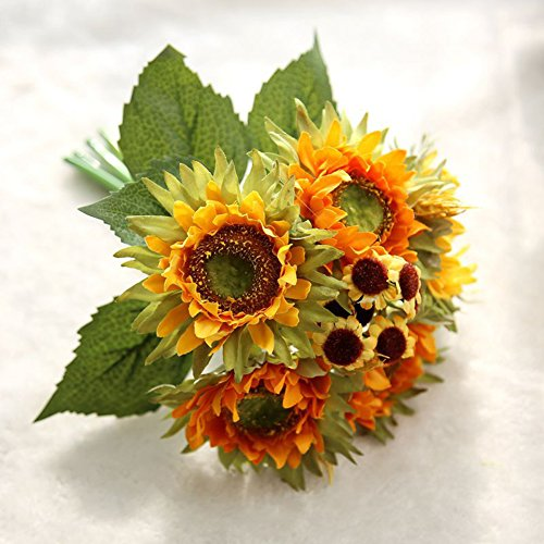 MineDecor Artificial Silk Flowers Sunflower Wedding Bridal Bouquets Home Garden Party Decorative Gift