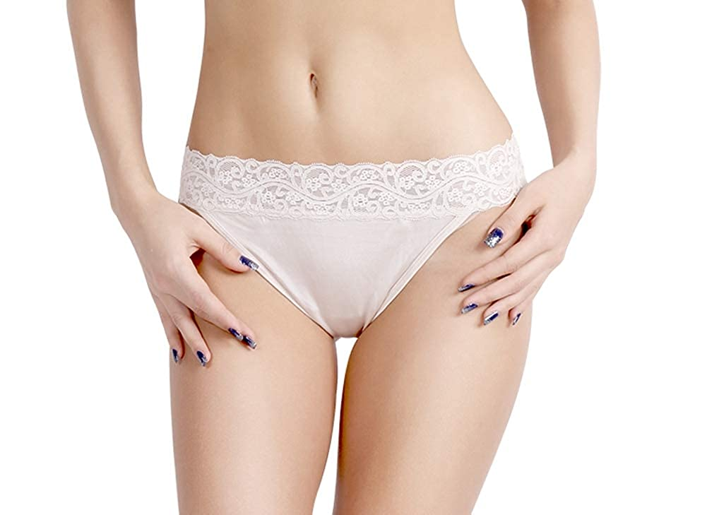 Forever Angel Womens 100/% Pure Silk Knitted Lace Low Rise Thong