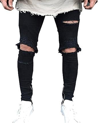 Mengmiao Hombre Vaqueros Rotos Rodilla Tiene Agujeros Pantalones Vaqueros Del Agujero Amazon Es Ropa Y Accesorios