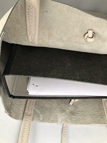 à x Italie SH30441 x ca poche souple x cuir la en métallisée de Shopper poignée 13 40 cm x Fashion longueur hauteur fabriqué bandoulière de Crème sac 37 largeur hanche RW RY8qxq