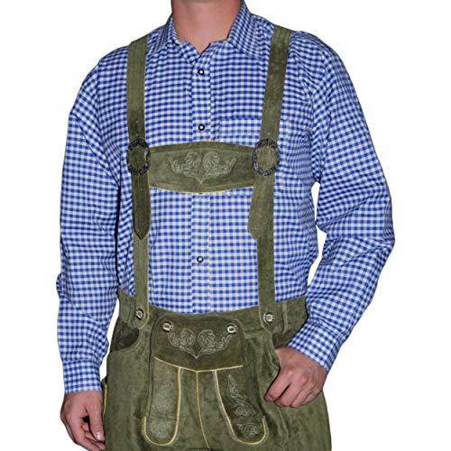 Dirndl Trachten Haus German Blue Lederhosen Longsleeve/Shortsleeve Shirt (Large)