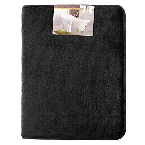 Clara Clark Bath Mat Bathroom Rug - Absorbent Memory Foam Bath Rugs - Non-Slip, Thick, Cozy Velvet Feel Microfiber Bathrug, Plush Shower, Toilet Floor Bathmats Carpet - Black - Small Size 17