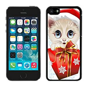 Customization Iphone 5C TPU Case Christmas Cat Black iPhone 5C Case 22